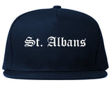St. Albans Vermont VT Old English Mens Snapback Hat Navy Blue