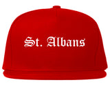 St. Albans Vermont VT Old English Mens Snapback Hat Red