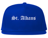 St. Albans Vermont VT Old English Mens Snapback Hat Royal Blue