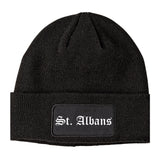 St. Albans Vermont VT Old English Mens Knit Beanie Hat Cap Black