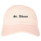 St. Albans Vermont VT Old English Mens Dad Hat Baseball Cap Pink