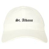 St. Albans Vermont VT Old English Mens Dad Hat Baseball Cap White