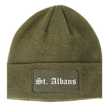 St. Albans Vermont VT Old English Mens Knit Beanie Hat Cap Olive Green
