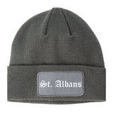 St. Albans Vermont VT Old English Mens Knit Beanie Hat Cap Grey