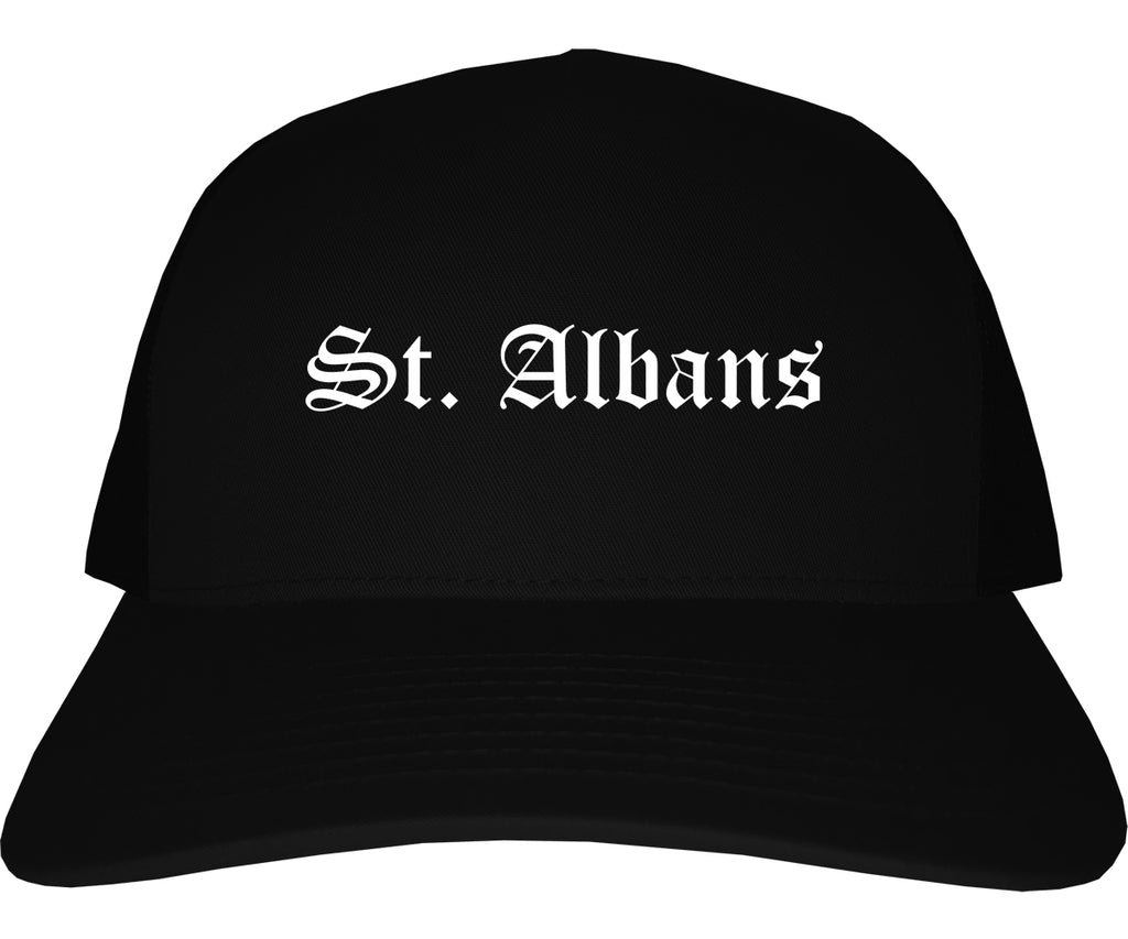 St. Albans Vermont VT Old English Mens Trucker Hat Cap Black