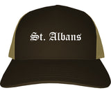St. Albans Vermont VT Old English Mens Trucker Hat Cap Brown