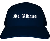 St. Albans Vermont VT Old English Mens Trucker Hat Cap Navy Blue