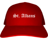 St. Albans Vermont VT Old English Mens Trucker Hat Cap Red