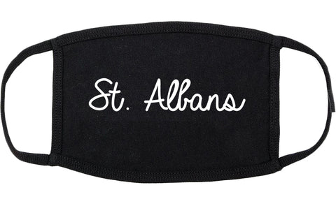 St. Albans Vermont VT Script Cotton Face Mask Black