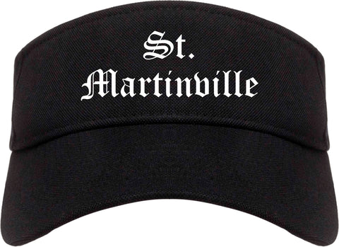 St. Martinville Louisiana LA Old English Mens Visor Cap Hat Black