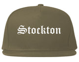 Stockton California CA Old English Mens Snapback Hat Grey