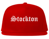 Stockton California CA Old English Mens Snapback Hat Red