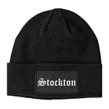 Stockton California CA Old English Mens Knit Beanie Hat Cap Black