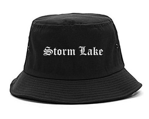 Storm Lake Iowa IA Old English Mens Bucket Hat Black