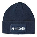 Suffolk Virginia VA Old English Mens Knit Beanie Hat Cap Navy Blue