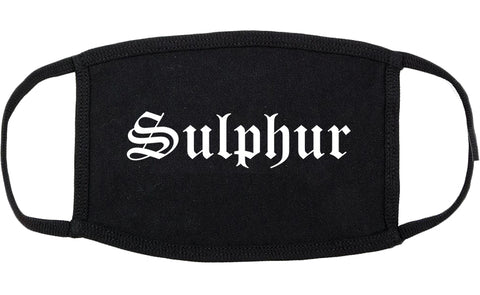 Sulphur Louisiana LA Old English Cotton Face Mask Black