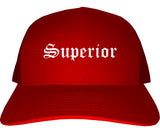 Superior Colorado CO Old English Mens Trucker Hat Cap Red