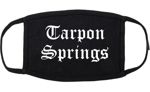 Tarpon Springs Florida FL Old English Cotton Face Mask Black