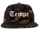 Tempe Arizona AZ Old English Mens Snapback Hat Army Camo
