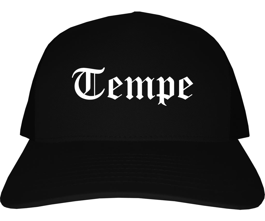 Tempe Arizona AZ Old English Mens Trucker Hat Cap Black