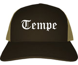 Tempe Arizona AZ Old English Mens Trucker Hat Cap Brown