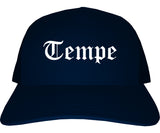 Tempe Arizona AZ Old English Mens Trucker Hat Cap Navy Blue