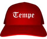 Tempe Arizona AZ Old English Mens Trucker Hat Cap Red