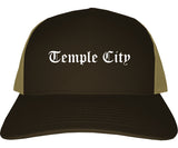 Temple City California CA Old English Mens Trucker Hat Cap Brown