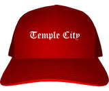 Temple City California CA Old English Mens Trucker Hat Cap Red