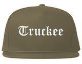 Truckee California CA Old English Mens Snapback Hat Grey