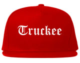 Truckee California CA Old English Mens Snapback Hat Red