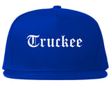 Truckee California CA Old English Mens Snapback Hat Royal Blue