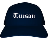 Tucson Arizona AZ Old English Mens Trucker Hat Cap Navy Blue