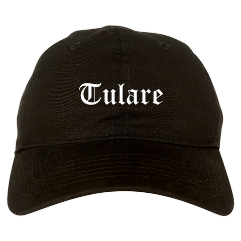 Tulare California CA Old English Mens Dad Hat Baseball Cap Black