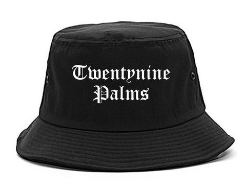 Twentynine Palms California CA Old English Mens Bucket Hat Black