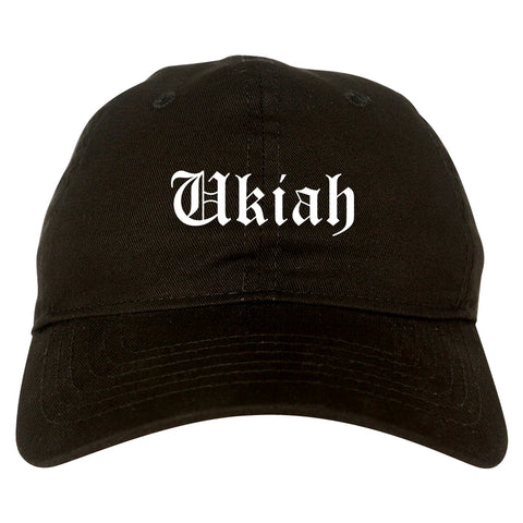 Ukiah California CA Old English Mens Dad Hat Baseball Cap Black