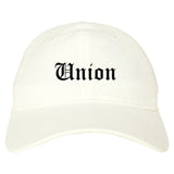 Union Ohio OH Old English Mens Dad Hat Baseball Cap White