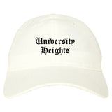 University Heights Ohio OH Old English Mens Dad Hat Baseball Cap White