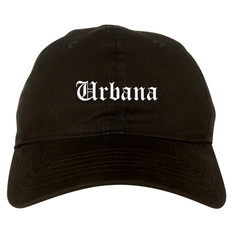 Urbana Illinois IL Old English Mens Dad Hat Baseball Cap Black