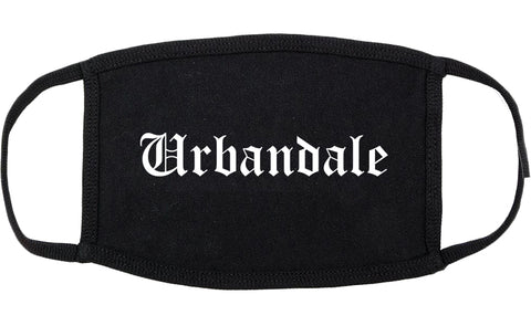 Urbandale Iowa IA Old English Cotton Face Mask Black