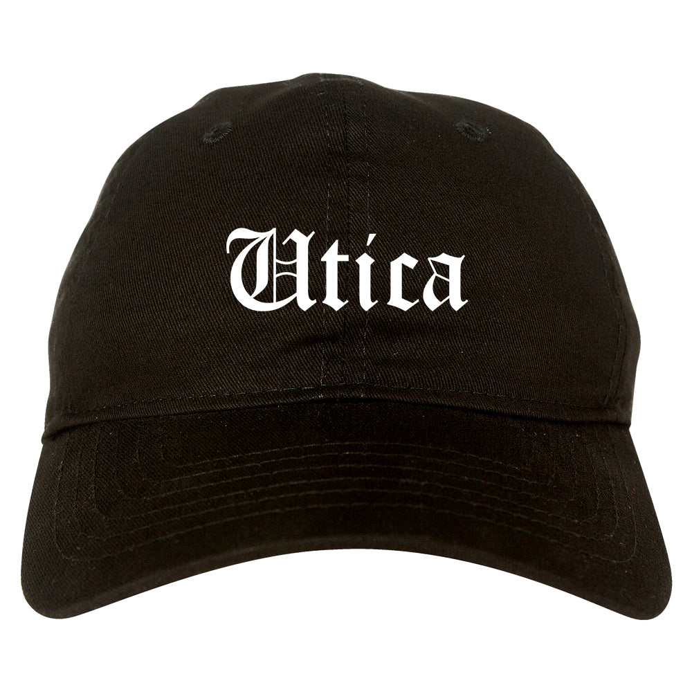 Utica Michigan MI Old English Mens Dad Hat Baseball Cap Black