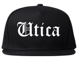 Utica New York NY Old English Mens Snapback Hat Black