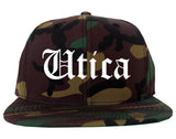 Utica New York NY Old English Mens Snapback Hat Army Camo