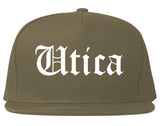 Utica New York NY Old English Mens Snapback Hat Grey