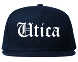 Utica New York NY Old English Mens Snapback Hat Navy Blue