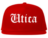 Utica New York NY Old English Mens Snapback Hat Red