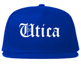 Utica New York NY Old English Mens Snapback Hat Royal Blue
