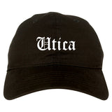 Utica New York NY Old English Mens Dad Hat Baseball Cap Black