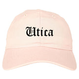 Utica New York NY Old English Mens Dad Hat Baseball Cap Pink