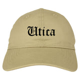 Utica New York NY Old English Mens Dad Hat Baseball Cap Tan